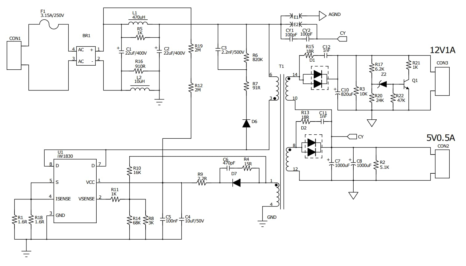 IW1830-EVAL - Schematic
