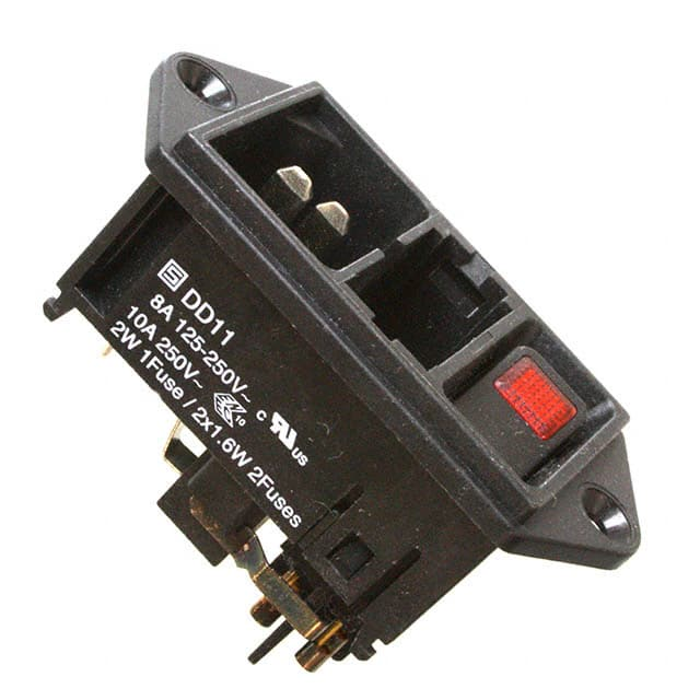 Quick Connect. Receptacle 5 Items Panel Mount 250 VAC DD11 Series 10 A Power Entry Connector DD11.0114.1111
